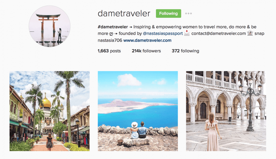 female travel instagram features