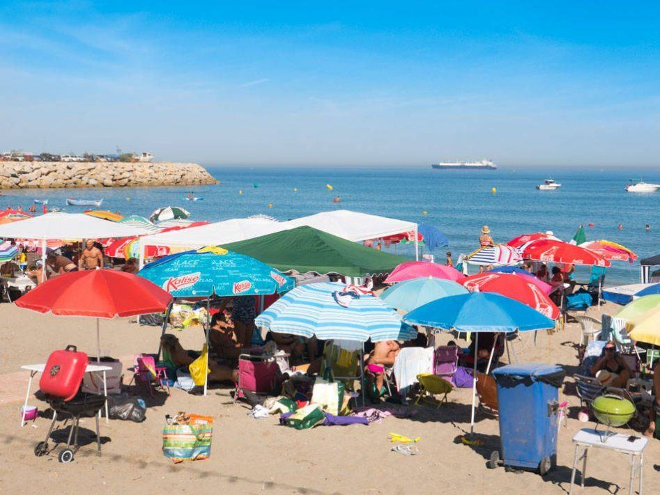 gibraltar catalan bay parasols
