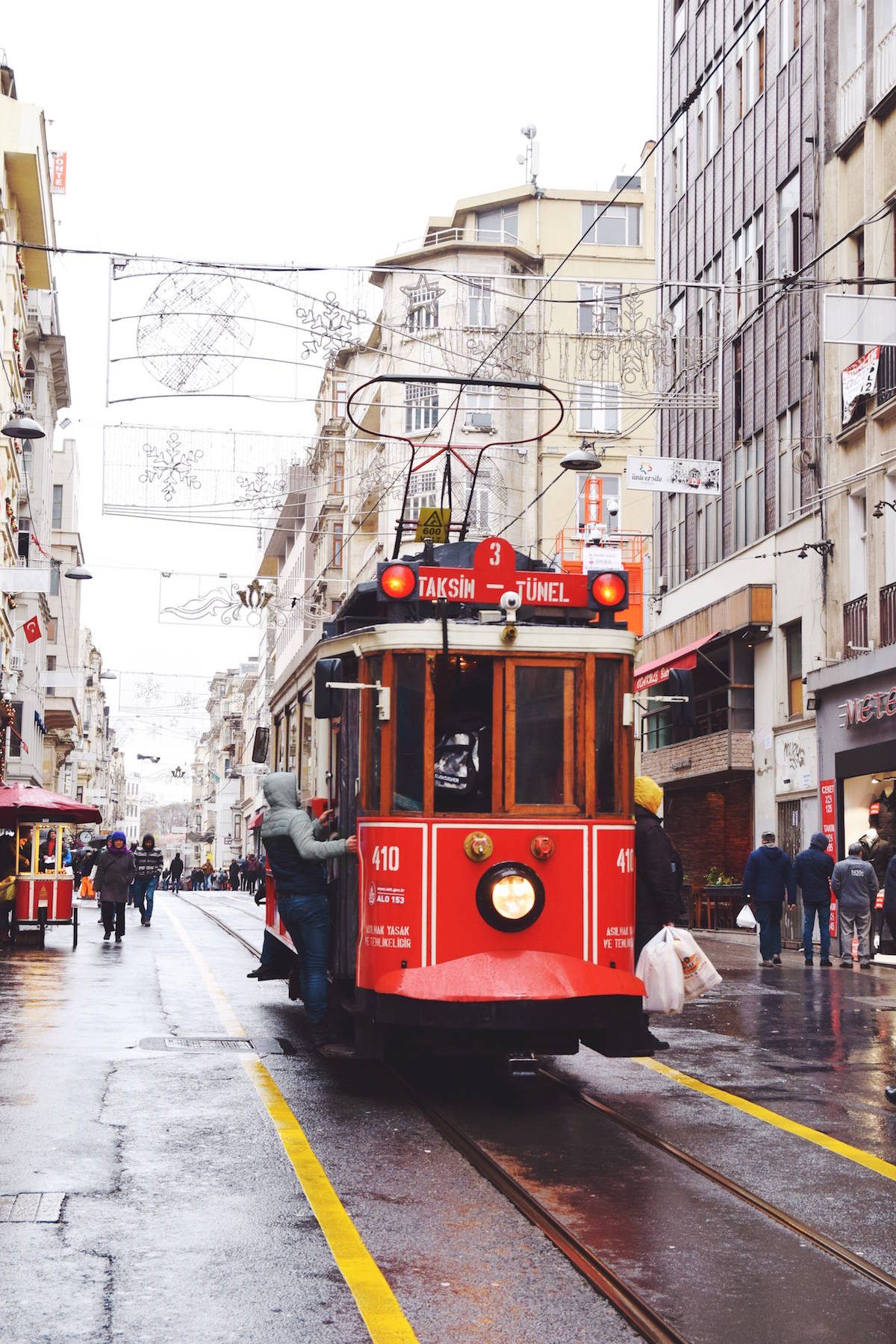 old red tram istanbul turkey